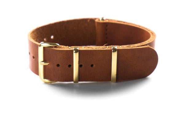 Gold Leather NATO Strap Oak