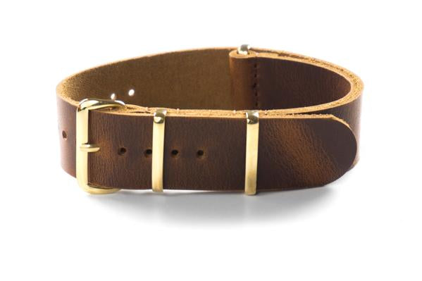 Gold Leather NATO Strap Sienna