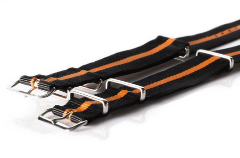 NATO Regimental Strap Black with one Orange stripe - Cheapest NATO Straps  - 2