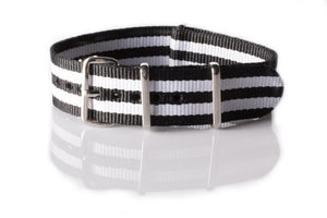 NATO Regimental Strap Black and White - Cheapest NATO Straps  - 1