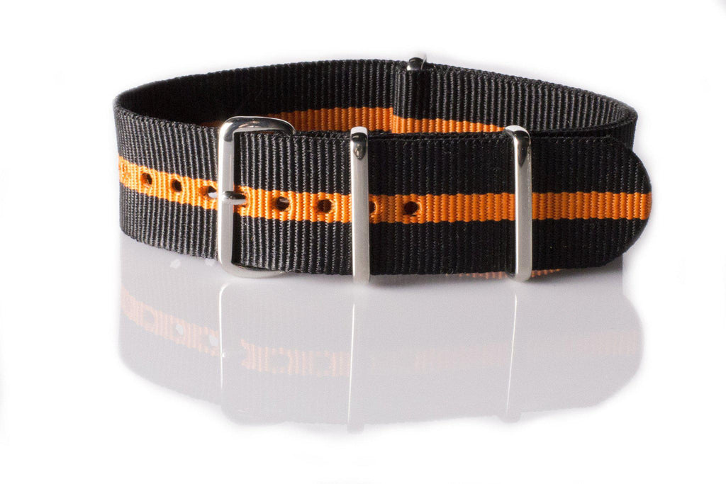 NATO Regimental Strap Black with one Orange stripe - Cheapest NATO Straps  - 1