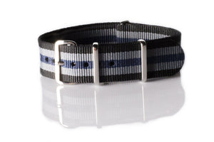 NATO Regimental Strap Black, Gray and Blue - Cheapest NATO Straps  - 1