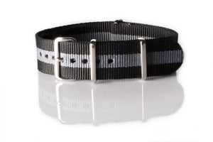 NATO Regimental Strap Black and Gray - Cheapest NATO Straps  - 1