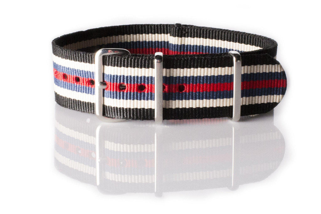 NATO Regimental Strap Black, Beige, Blue and Red - Cheapest NATO Straps  - 1