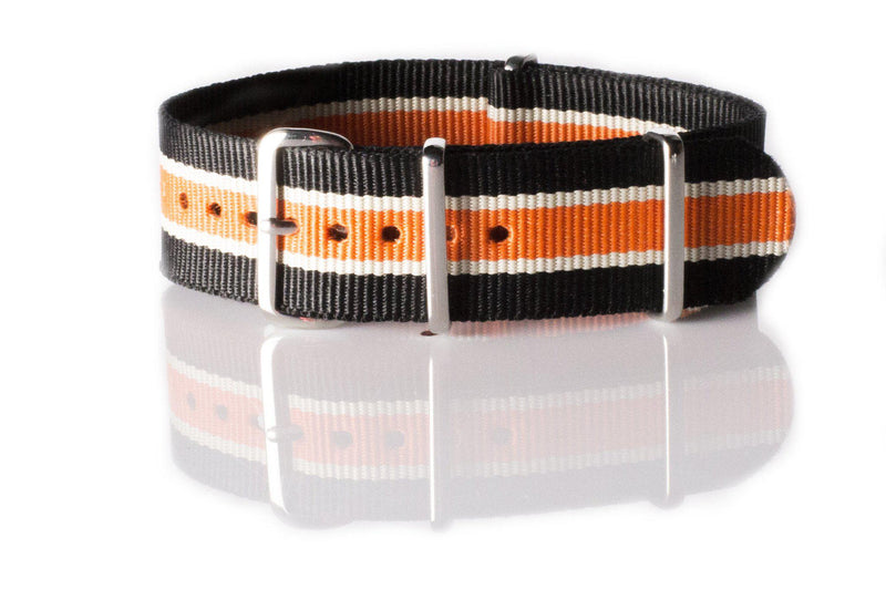 NATO Regimental Strap Black, White and Orange - Cheapest NATO Straps  - 1