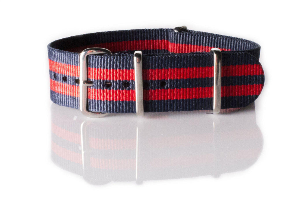 NATO Regimental Strap Blue and Red 5 stripe - Cheapest NATO Straps  - 1
