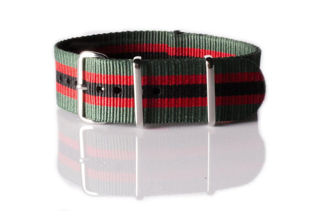 NATO Regimental Strap Green, Red and Black - Cheapest NATO Straps  - 1