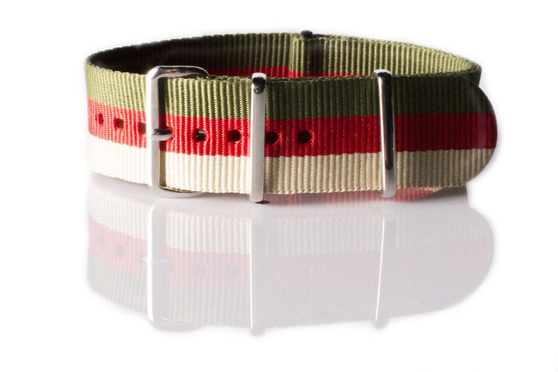NATO Regimental Strap Khaki Green, Red and Beige - Cheapest NATO Straps  - 1