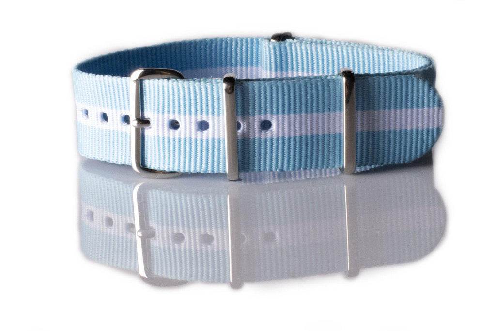 NATO Regimental Strap Light Blue and White - Cheapest NATO Straps  - 1