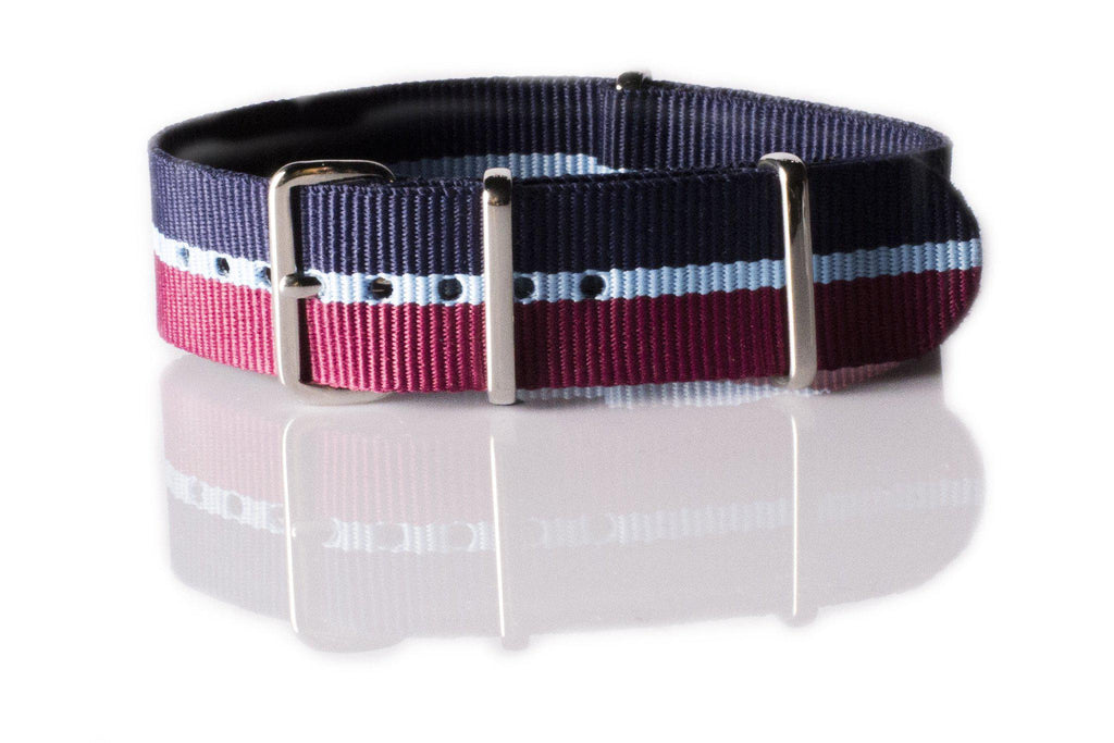NATO Regimental Strap Maroon, Light Blue and Navy - Cheapest NATO Straps  - 1