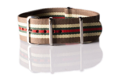 NATO Regimental Strap Brown, Beige, Green and Red - Cheapest NATO Straps  - 1