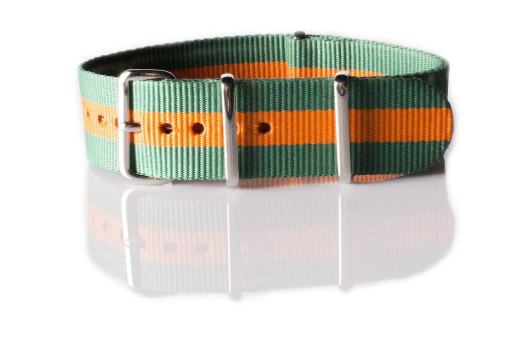 NATO Regimental Strap Green and Orange - Cheapest NATO Straps  - 1