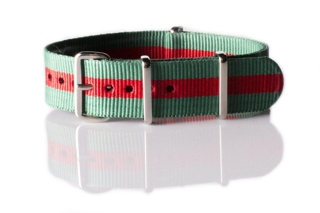 NATO Regimental Strap Green and Red - Cheapest NATO Straps  - 1
