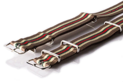 NATO Regimental Strap Brown, Beige, Green and Red - Cheapest NATO Straps  - 2