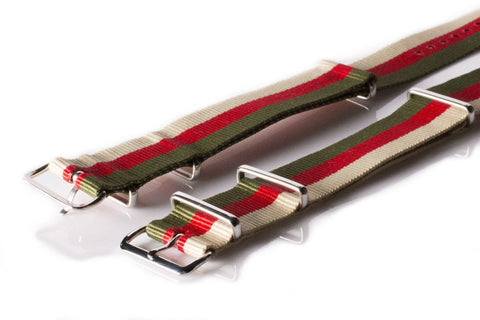 NATO Regimental Strap Khaki Green, Red and Beige - Cheapest NATO Straps  - 2