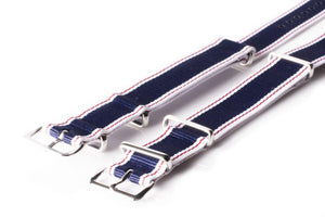 NATO Regimental Strap Selvage, White, Red and Blue - Cheapest NATO Straps  - 2