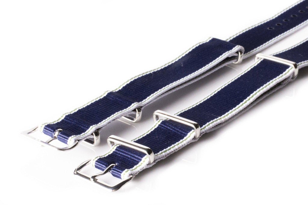 NATO Regimental Strap Selvage, White, Green and Navy - Cheapest NATO Straps  - 2