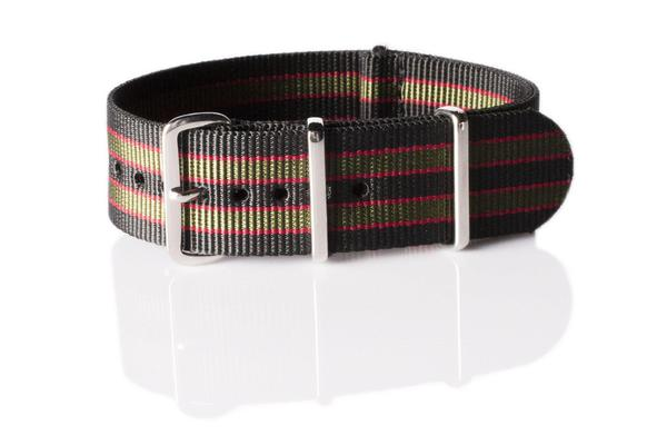Premium NATO strap Black, Red and Green James Bond striped