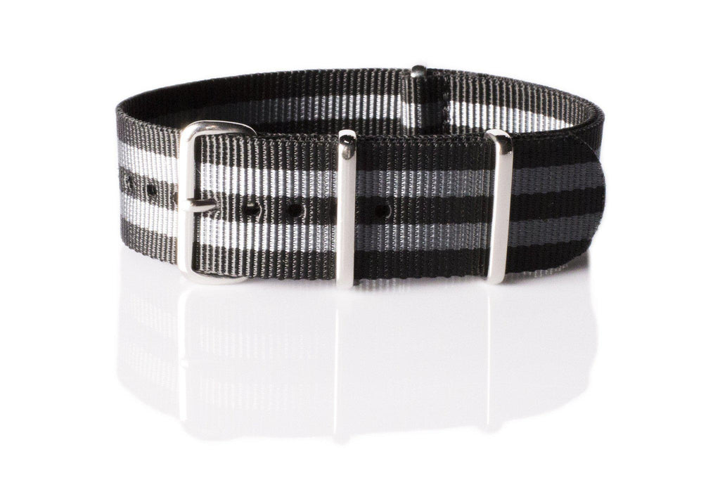 Extra Long Premium NATO strap Black and Gray James Bond striped - Cheapest NATO Straps  - 1