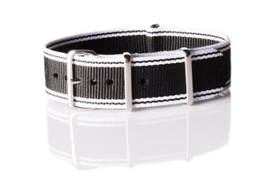 NATO Regimental Strap Selvage, White and Black - Cheapest NATO Straps  - 1