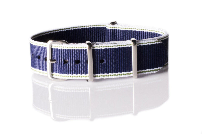 NATO Regimental Strap Selvage, White, Green and Navy - Cheapest NATO Straps  - 1