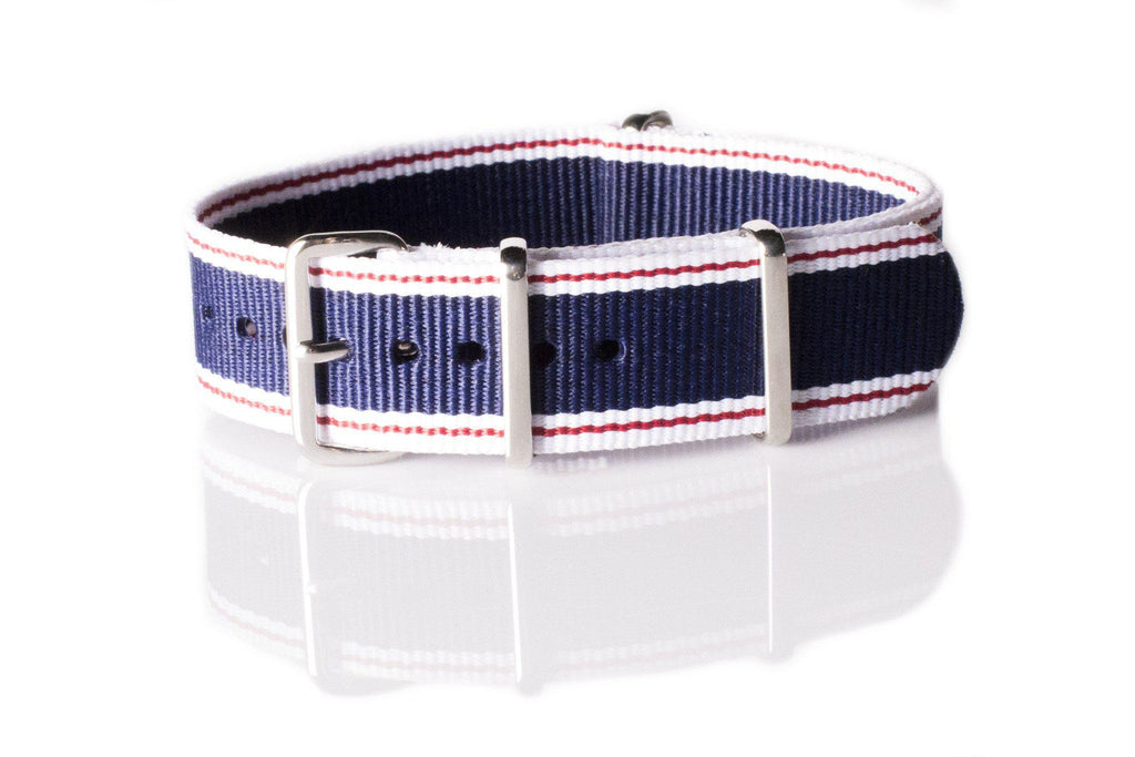 NATO Regimental Strap Selvage, White, Red and Blue - Cheapest NATO Straps  - 1