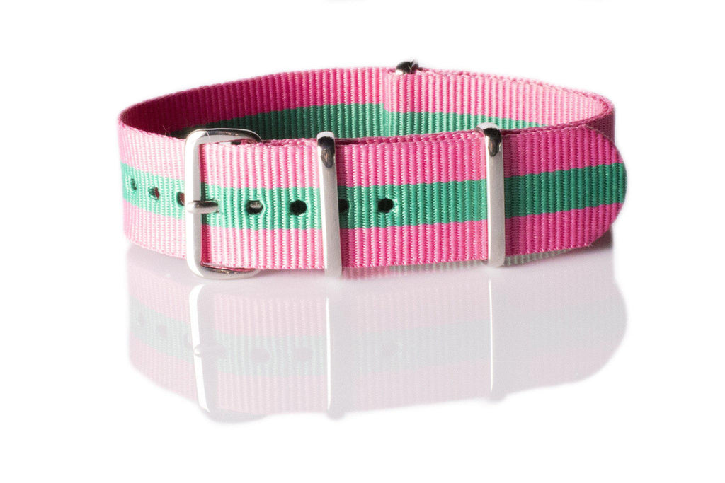 NATO Regimental Strap Pink and Green - Cheapest NATO Straps  - 1