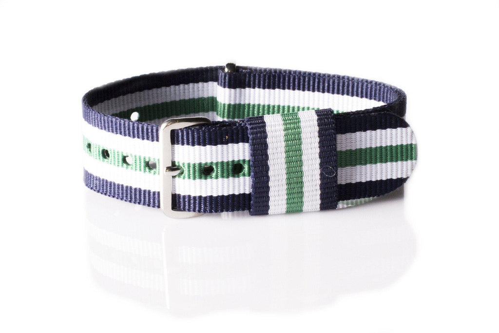 Premium Original NATO Strap Navy, White and Green - Cheapest NATO Straps  - 1