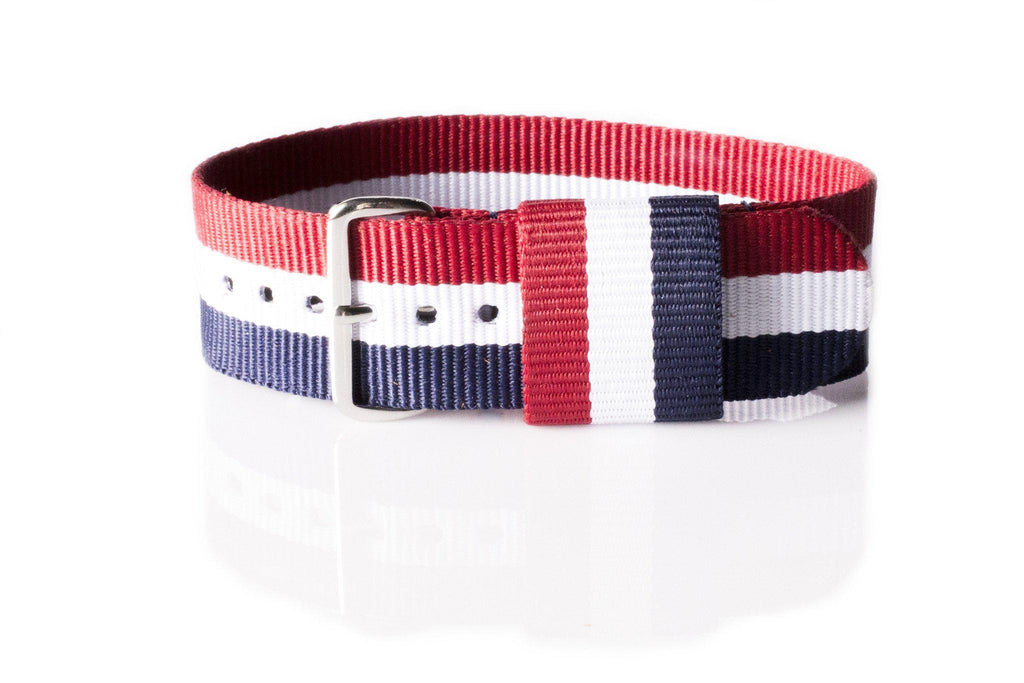 Original NATO Strap Red, White and Navy - Cheapest NATO Straps  - 1