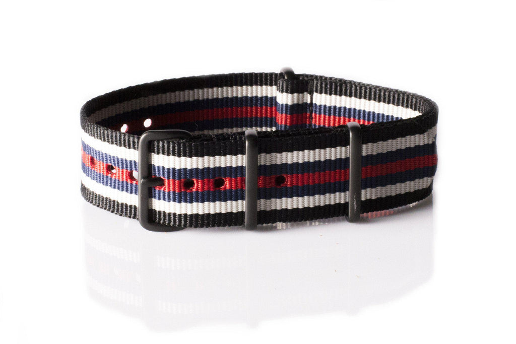 PVD premium NATO Strap Black, white, blue and red - Cheapest NATO Straps  - 1