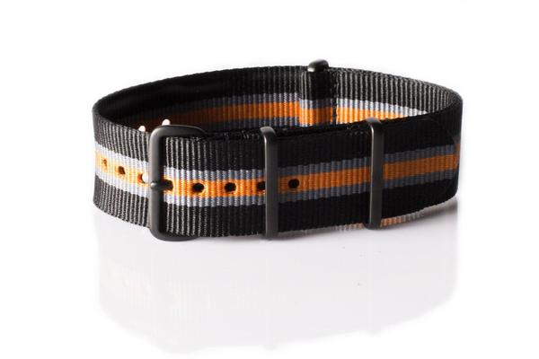 PVD premium NATO Strap Black, gray and orange