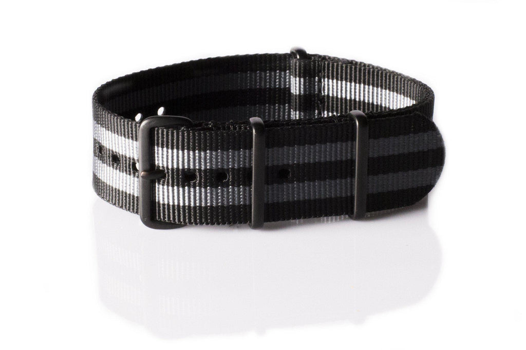 "Extra Long PVD NATO Strap Black and Gray ""James Bond"" - Cheapest NATO Straps  - 1"