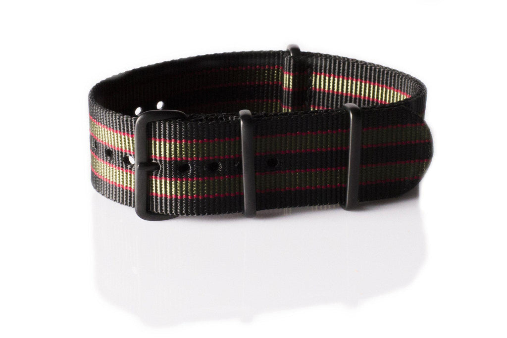"Extra Long PVD NATO Strap Black, Red and Green ""James Bond"" - Cheapest NATO Straps  - 1"