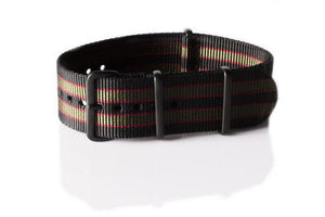 "PVD premium NATO Strap Black, Red and Green ""James Bond"""