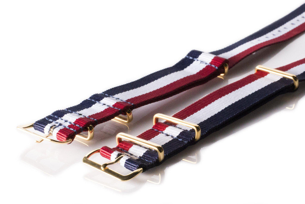 Gold premium NATO Strap Red, White and Navy - Cheapest NATO Straps  - 2