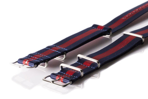 Brushed Premium NATO strap Navy and Red - Cheapest NATO Straps  - 2