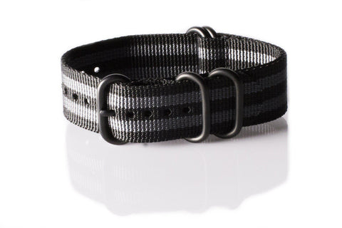 "Extra Long PVD Zulu Strap 5-ring Black and Gray ""James Bond"" - Cheapest NATO Straps  - 1"