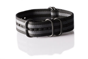 "PVD Zulu Strap 5-ring Black and Gray ""James Bond"" - Cheapest NATO Straps  - 1"