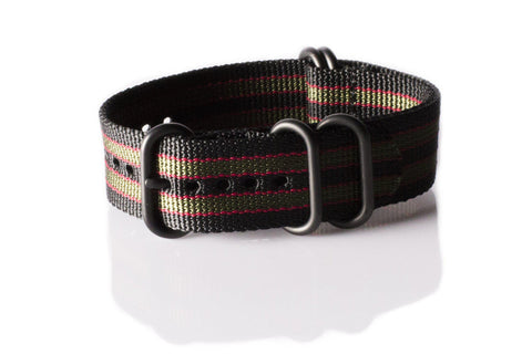 "Extra Long PVD Zulu Strap 5-ring Black, Red and Green ""James Bond"" - Cheapest NATO Straps  - 1"