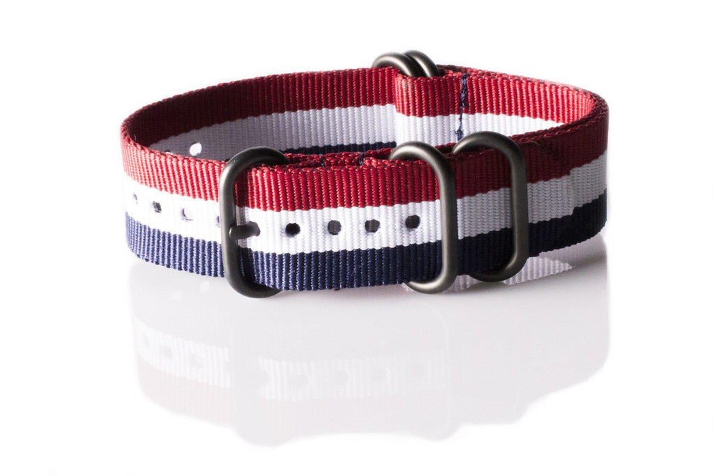 PVD Zulu Strap 5-ring Red, White and Navy - Cheapest NATO Straps  - 1