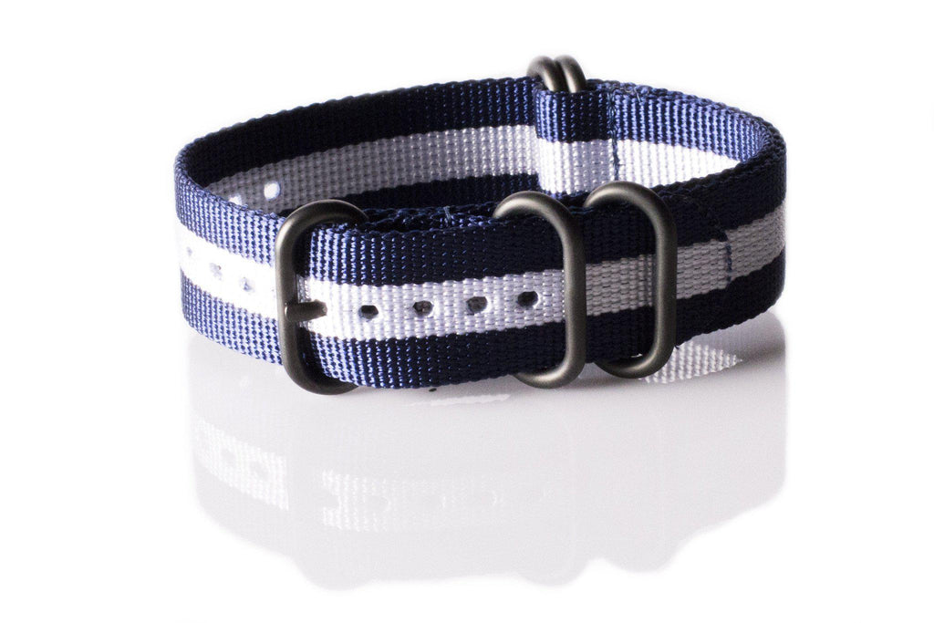 PVD Zulu Strap 5-ring Navy and White - Cheapest NATO Straps  - 1
