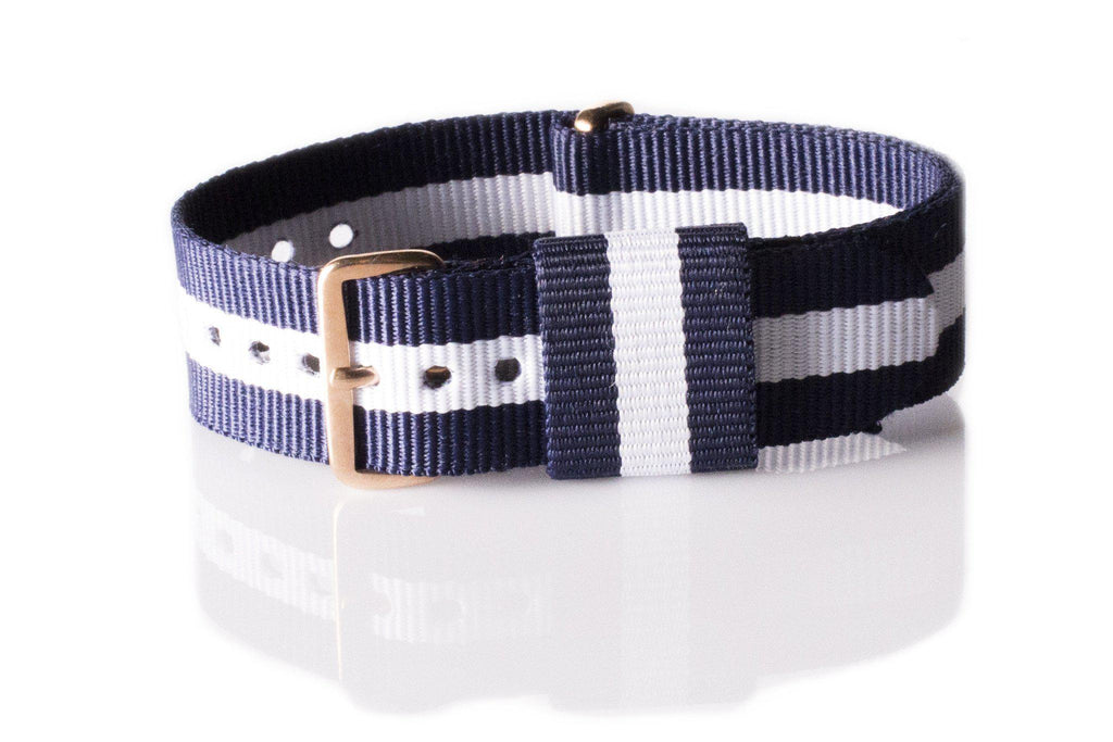 Rose Gold Premium Original NATO Strap Navy and White - Cheapest NATO Straps  - 1