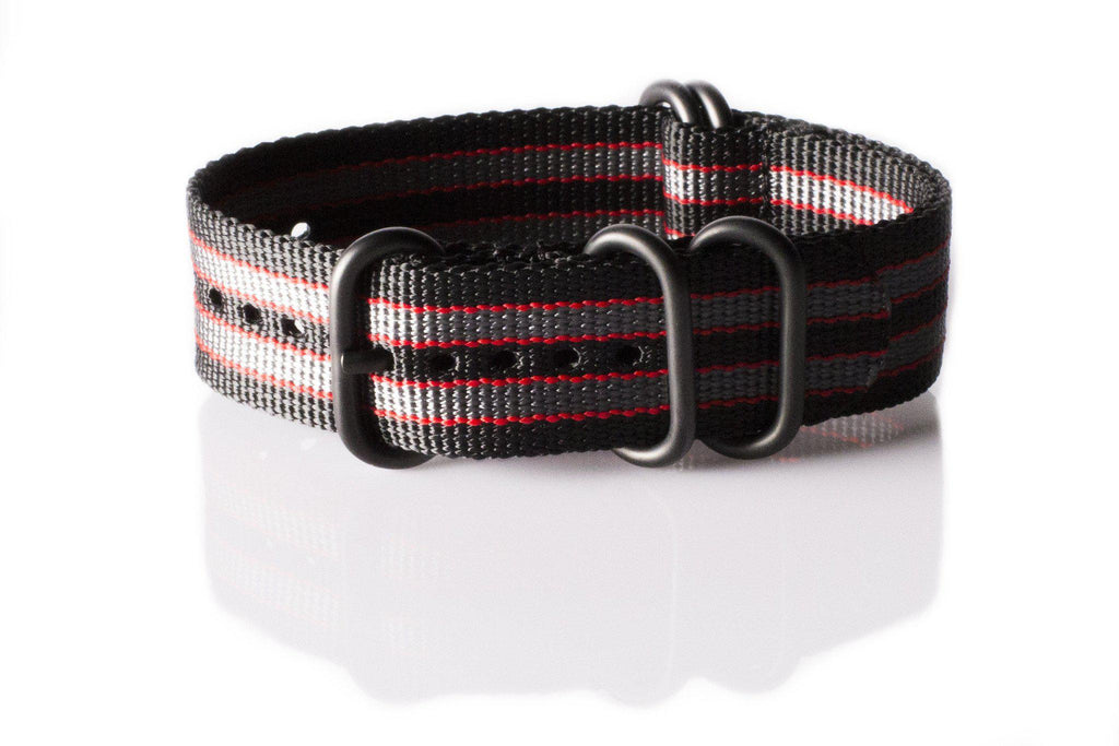 "PVD Zulu Strap 5-ring Black, Red and Gray ""James Bond"" - Cheapest NATO Straps  - 1"