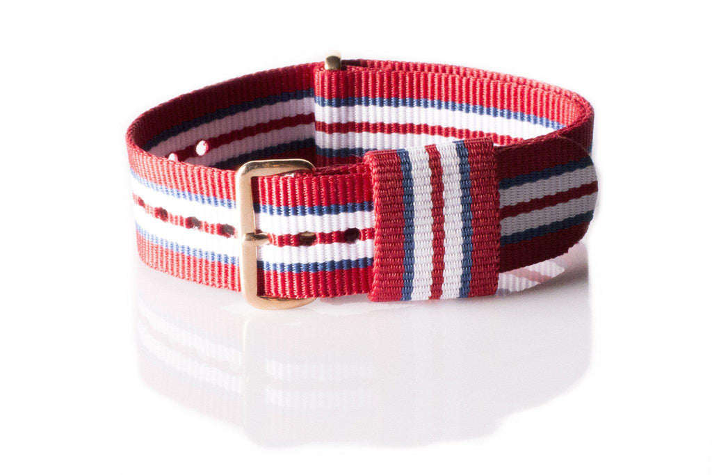 Rose Gold Premium Original NATO Strap Norway, Red, Blue and White - Cheapest NATO Straps  - 1