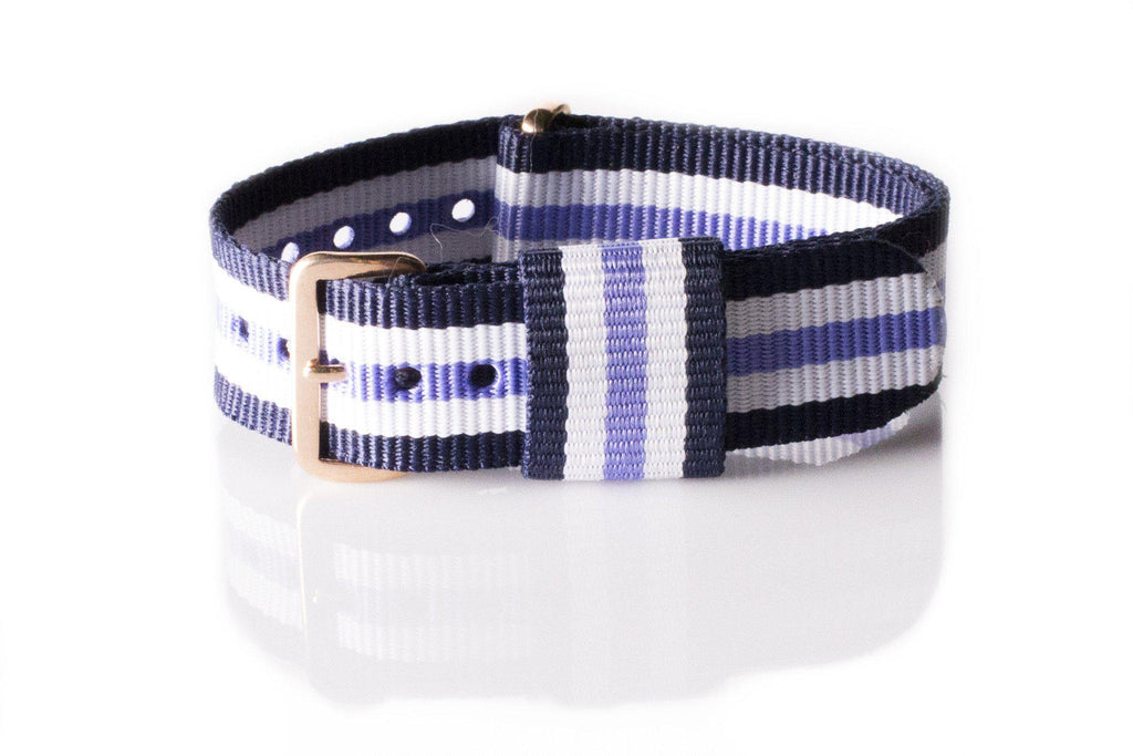 Rose Gold Premium Original NATO Strap Blue, White and Purple - Cheapest NATO Straps  - 1