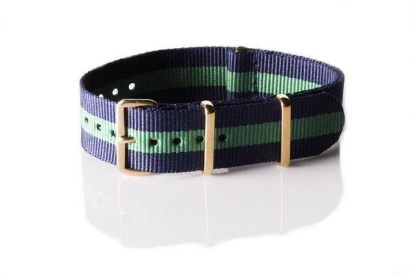 Gold premium NATO Strap Navy and Green