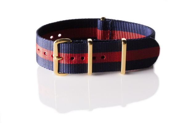 Gold premium NATO Strap Blue and Red