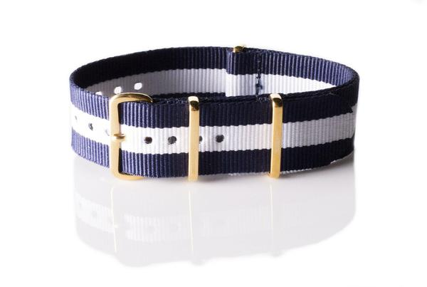 Gold premium NATO Strap Navy and White