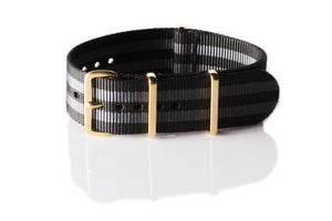 "Gold premium NATO Strap Black and Gray ""James Bond"""