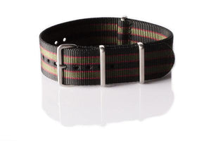 "Brushed Premium NATO strap Black, Red and Green ""James Bond"""